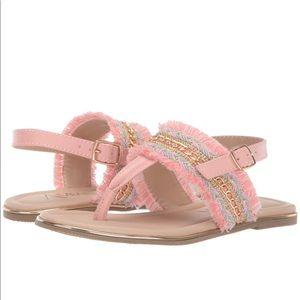 Amiana Pink Chain Fringe Sandals